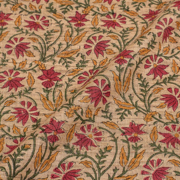 Beige Colour Floral Jaal Print Nebs Cotton Fabric 43 inches Width