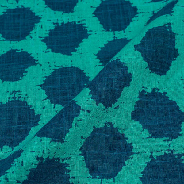 Sea Green Colour Geometric Print 42 inches Width Slub Cotton Fabric
