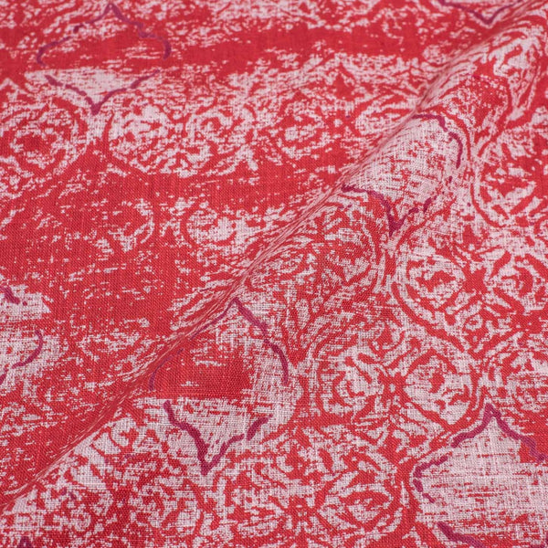 True Red Colour Geometric Print 43 inches Width Slub Cotton Fabric