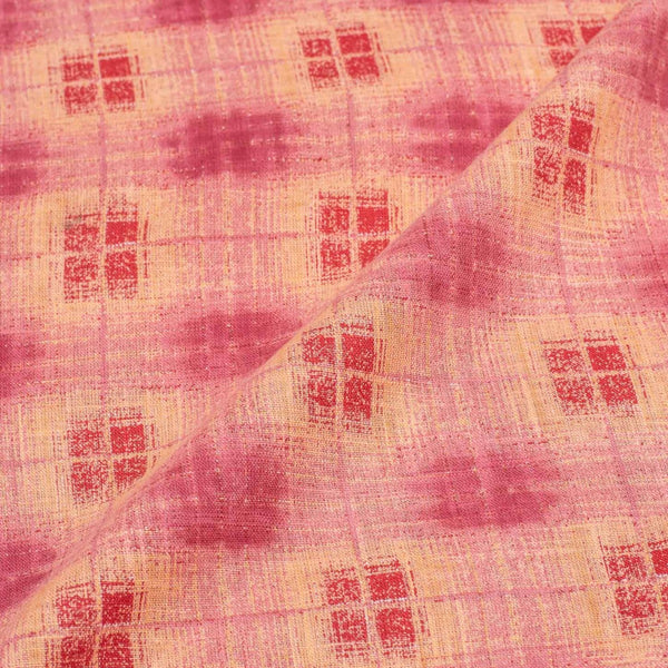 Carrot Pink Colour Geometric Print 42 inches Width Slub Cotton Fabric