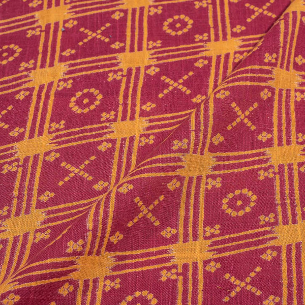 Carrot Colour Geometric Print 43 inches Width Slub Cotton Fabric