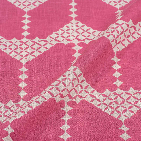 Pink Colour Geometric Print 42 inches Width Slub Cotton Fabric