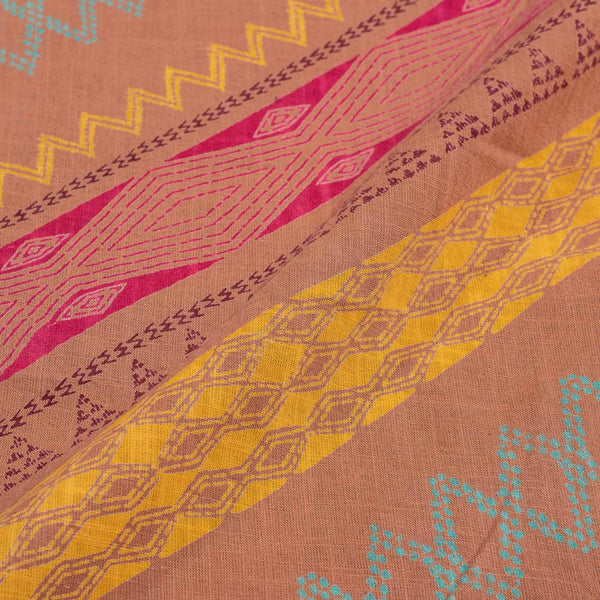 Powder Pink Colour Geometric Print 42 inches Width Slub Cotton Fabric