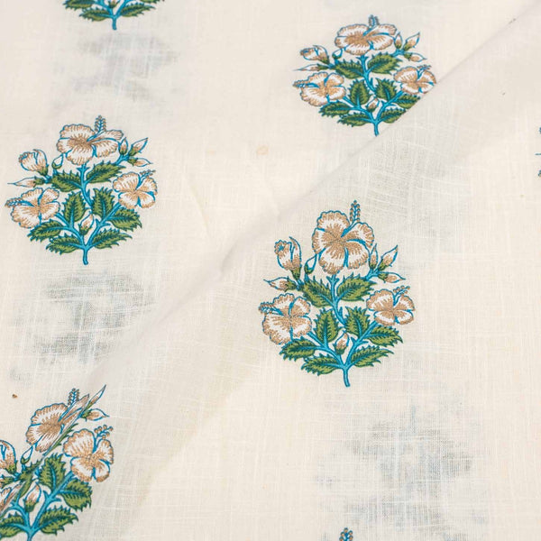 Slub Cotton Beige Colour 43 inches Width Floral Gold Print Fabric