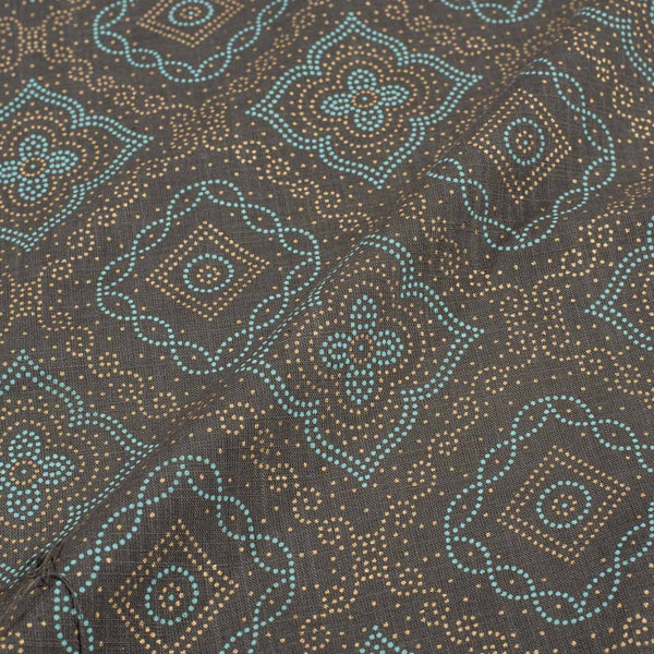 Cedar Colour Geometric Gold Foil Print Slub Cotton Fabric 41 inches Width