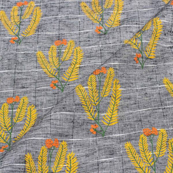 Grey Colour White Khadee Floral Print Handloom Flex Cotton Fabric