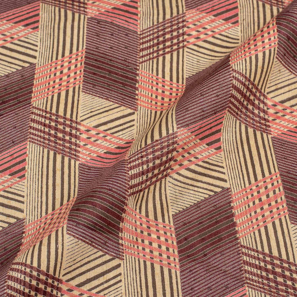 Beige Colour Discharge Print 42 inches Width Cotton Satin Fabric