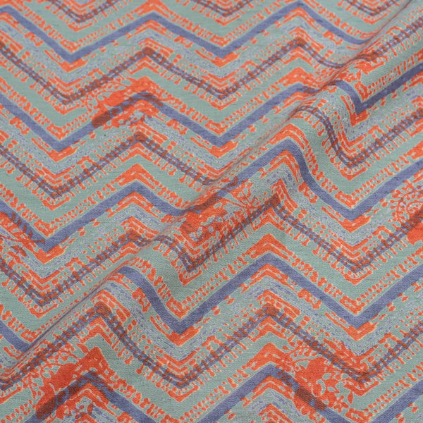 Cambridge Blue Colour Discharge Print 42 inches Width Cotton Satin Fabric