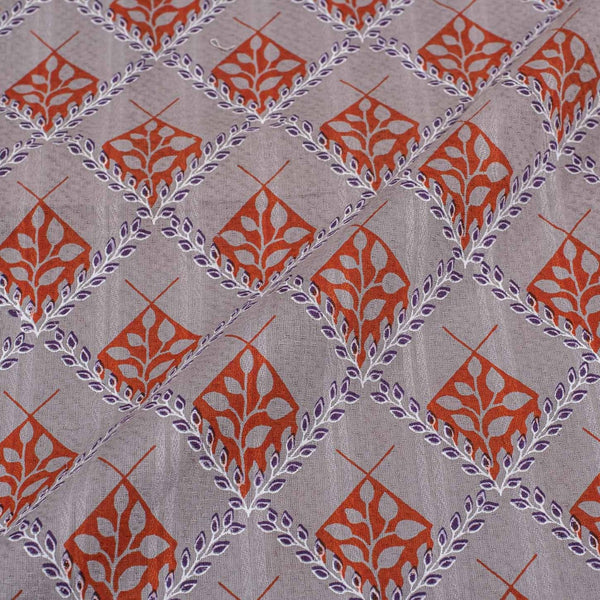 Dusty Lilac Colour Floral Print Cotton Fabric