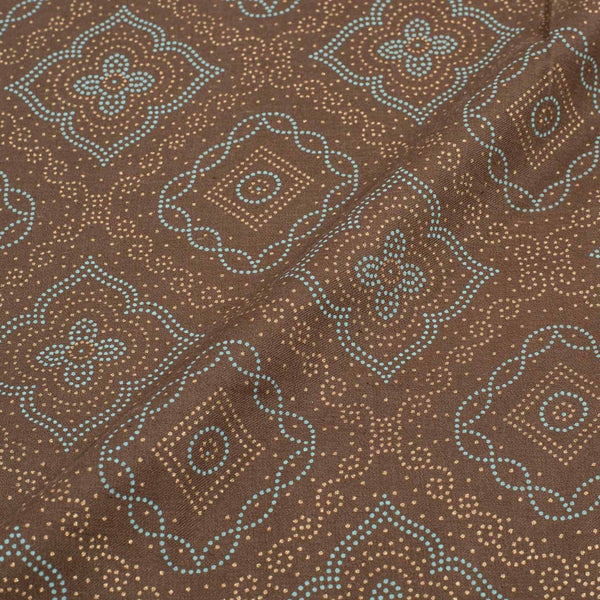 Brown Colour Geometric Print Cotton Fabric  43 inches Width