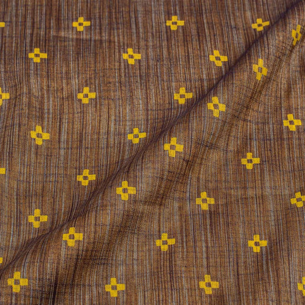 Brown Colour Geometric Print 40 inches Width Slub Cotton Fabricic