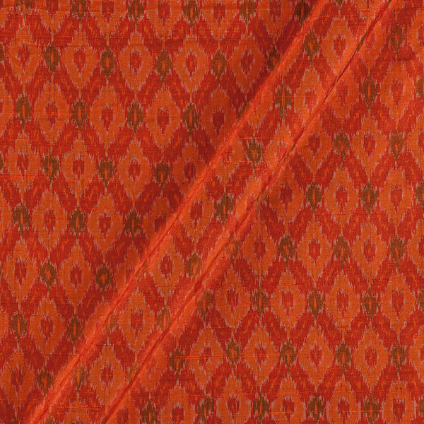 Raw Silk [Dupion] Ikat Orange Colour Fabric
