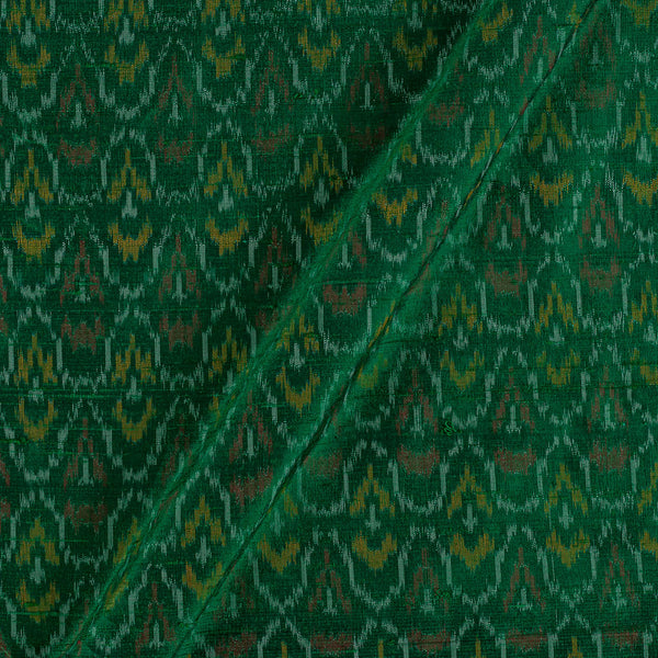 Raw Silk [Dupion] Ikat Dark Green Colour Fabric
