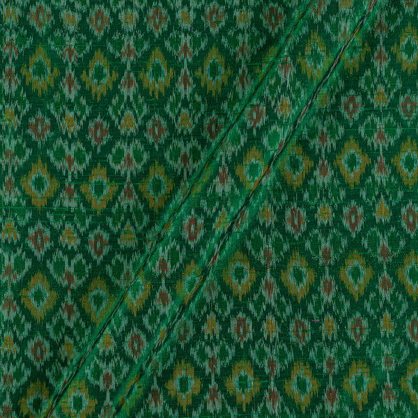 Raw Silk [Dupion] Ikat Green Colour Fabric