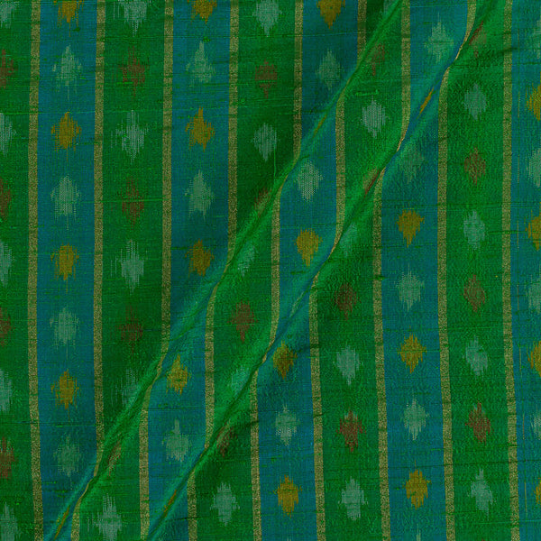 Raw Silk [Dupion] Ikat Light Green Colour Fabric