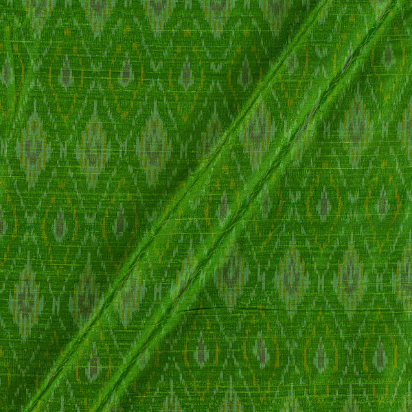 Raw Silk [Dupion] Ikat Bright Green Colour Fabric