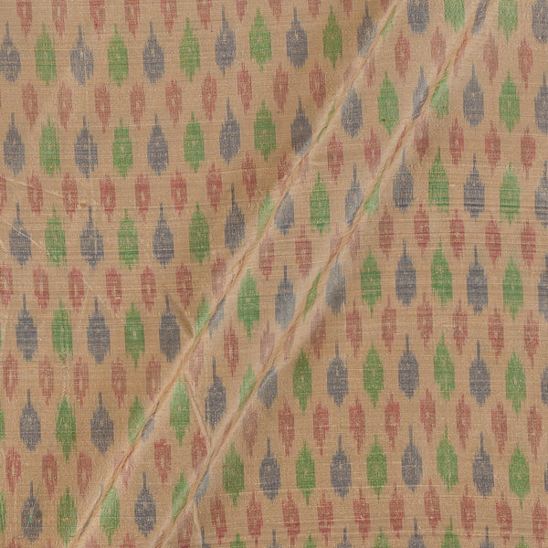 Raw Silk [Dupion] Ikat Cream Colour Fabric