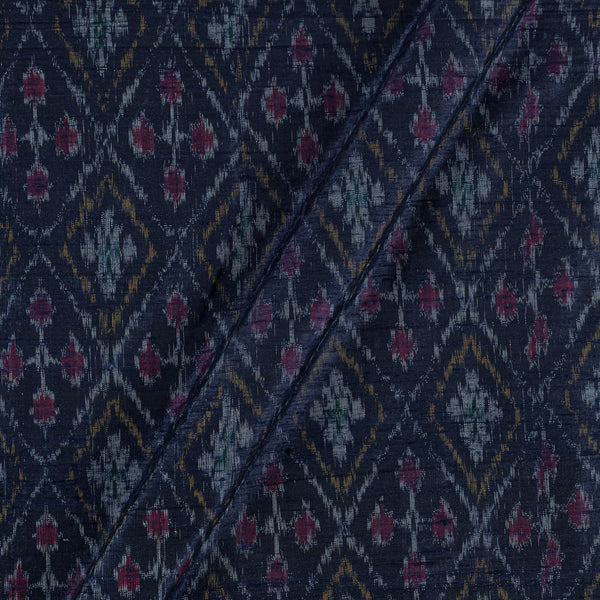 Raw Silk [Dupion] Ikat Navy Blue Colour Fabric