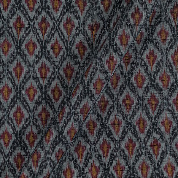 Raw Silk [Dupion] Ikat Grey Brown Colour Fabric