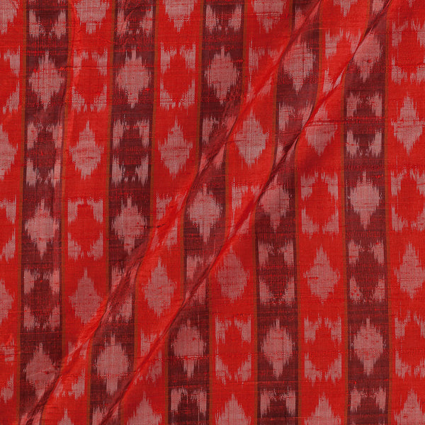 Raw Silk [Dupion] Ikat Poppy Red Colour Fabric