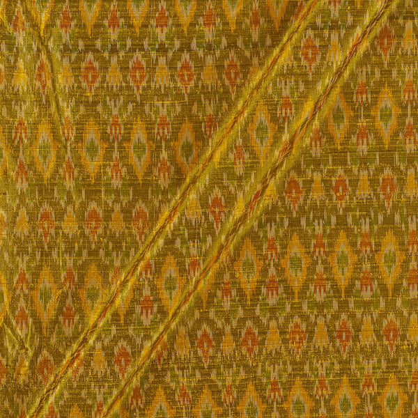 Raw Silk [Dupion] Ikat Mustard Colour Fabric