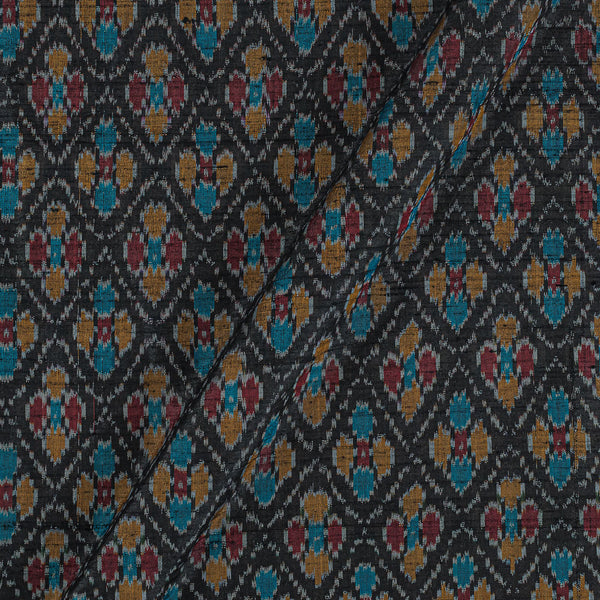 Raw Silk [Dupion] Ikat Black Colour Fabric
