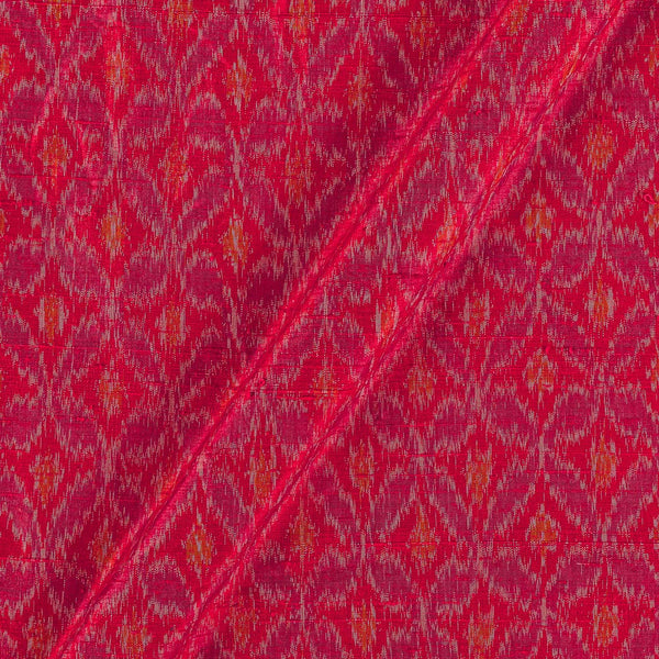 Raw Silk [Dupion] Ikat Red Colour Fabric