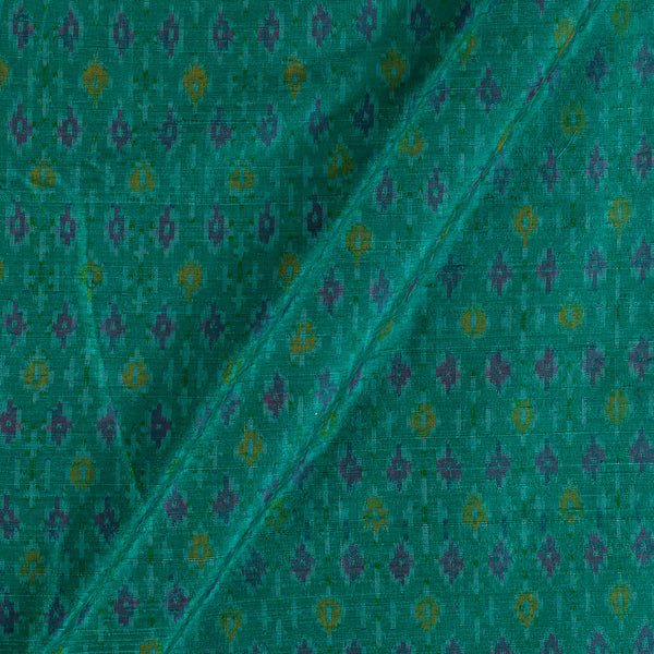 Raw Silk [Dupion] Ikat Sea Green Colour Fabric
