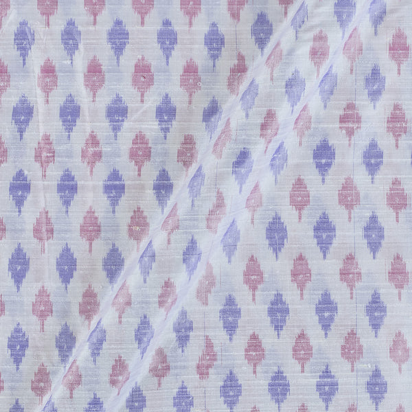 Raw Silk [Dupion] Ikat White Colour Fabric