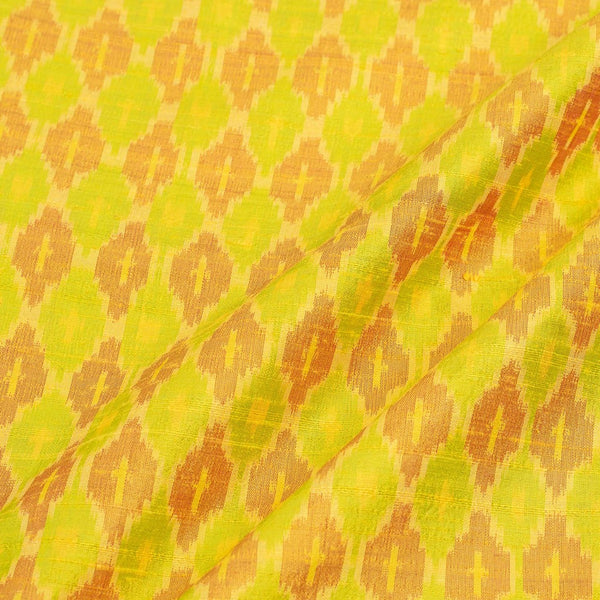 Raw Silk [Dupion] Ikat Lime Yellow Colour Handloom Fabric
