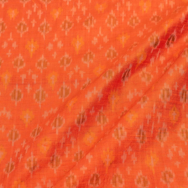 Raw Silk [Dupion] Ikat  Tangerine Orange Colour Handloom Fabric