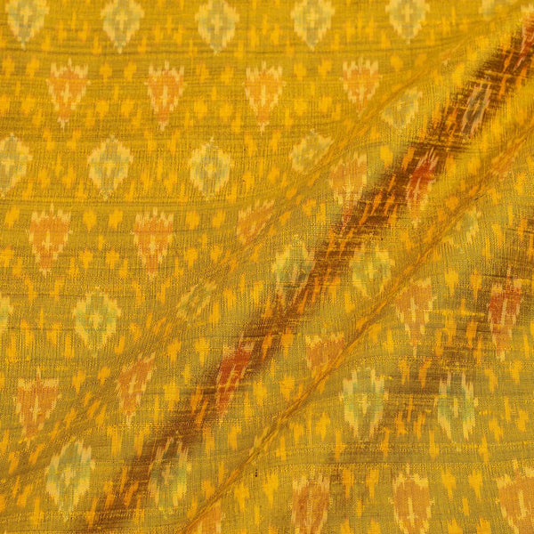 Raw Silk [Dupion] Ikat Mustard Colour Handloom Fabric