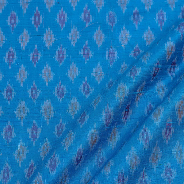 Raw Silk [Dupion] Ikat Sky Blue Colour Handloom Fabric