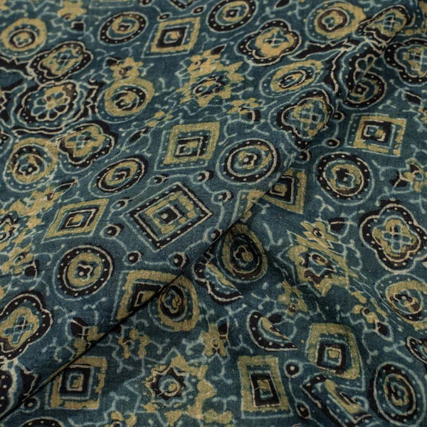 Mal Cotton Steel Blue Color Ajarakh Print Fabric
