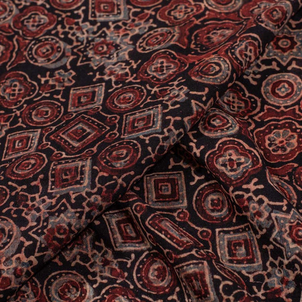 Mal Cotton Black Color Ajarakh Print Fabric