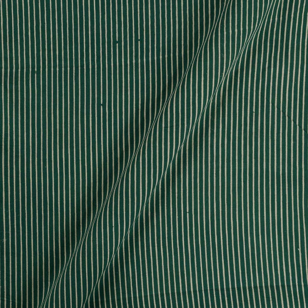 Cotton Dark Green Colour Stripes  Dusty Print Gamathi Fabric