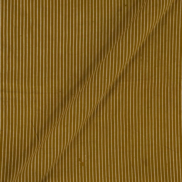 Cotton Mustard Colour Stripes  Dusty Print Gamathi Fabric
