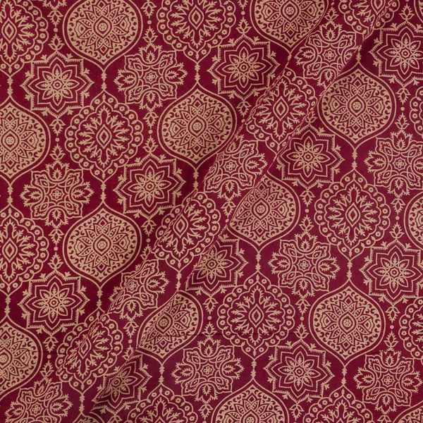 Cotton Maroon Colour Ethnic  Dusty Print Gamathi Fabric
