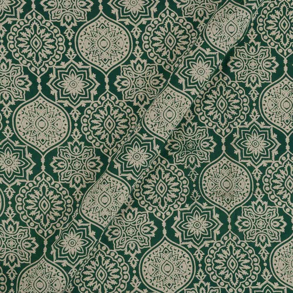 Cotton Dark Green Colour Ethnic  Dusty Print Gamathi Fabric