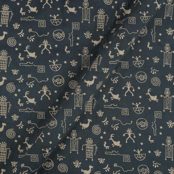 Cotton Grey Colour Warli Dusty Print Gamathi Fabric
