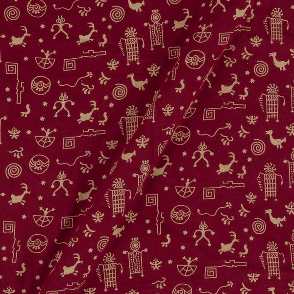 Cotton Maroon Colour Warli Dusty Print Gamathi Fabric