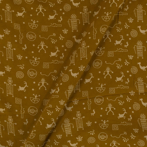 Cotton Mustard Colour Warli Dusty Print Gamathi Fabric