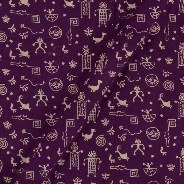 Cotton Purple Colour Warli Dusty Print Gamathi Fabric