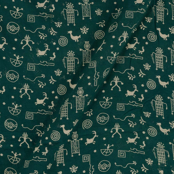Cotton Dark Green Colour Warli Dusty Print Gamathi Fabric