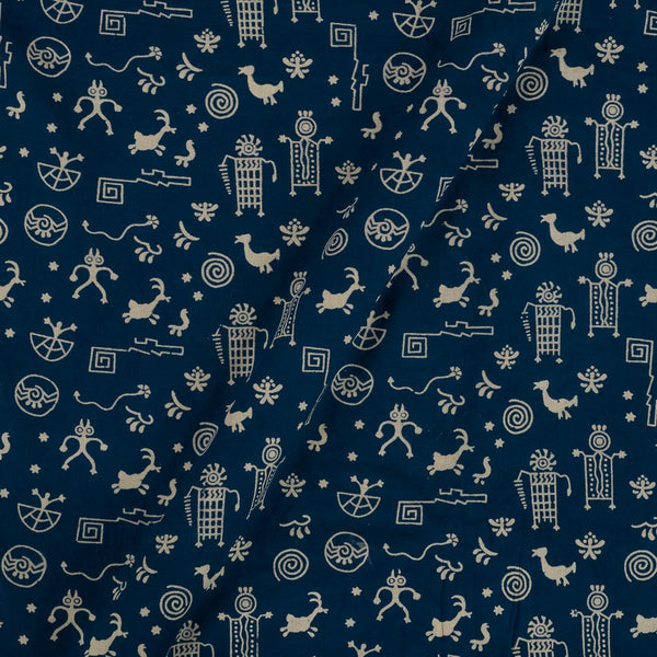 Cotton Blue Colour Warli Dusty Print Gamathi Fabric