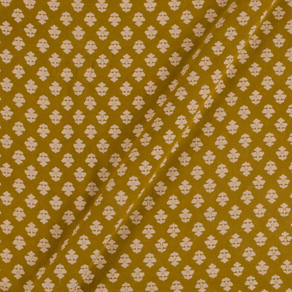 Cotton Mustard Colour Floral Dusty Print Gamathi Fabric