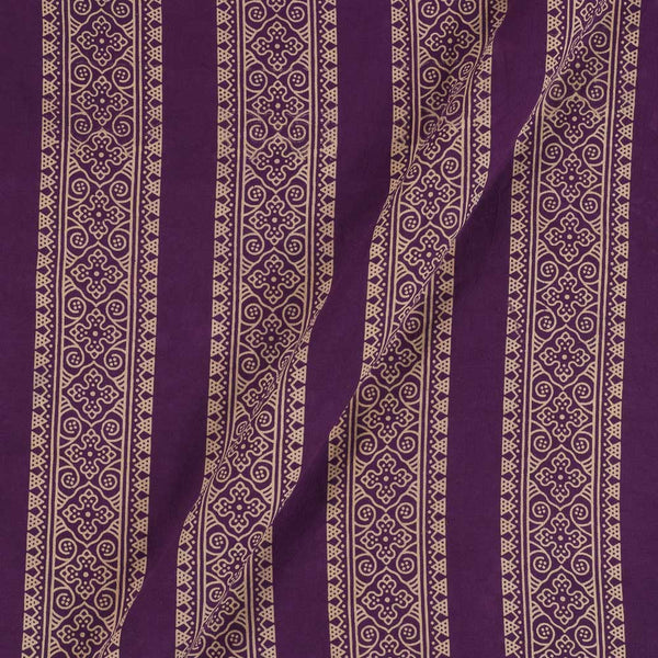 Cotton Purple Colour Border All OVer Dusty Print Gamathi Fabric
