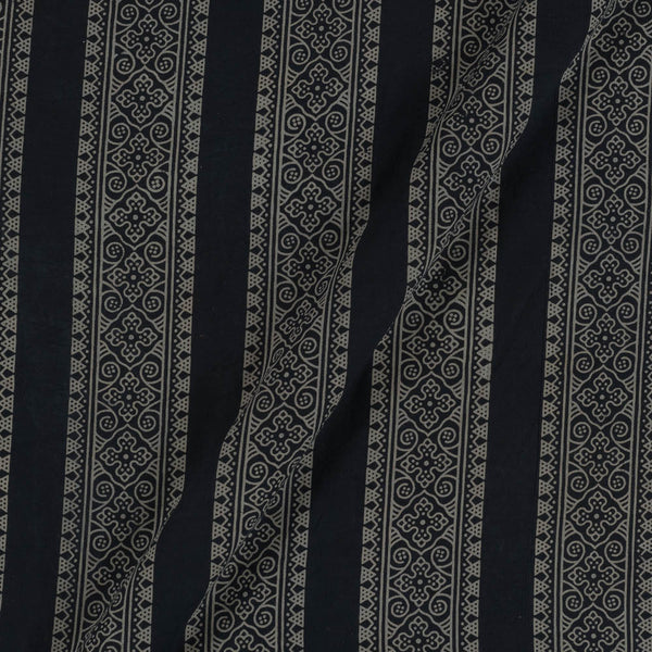 Cotton Black Colour Border All OVer Dusty Print Gamathi Fabric