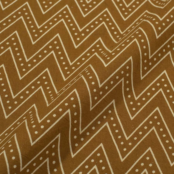 Cotton Mustard Colour Chevron Dusty Print Gamathi Fabric