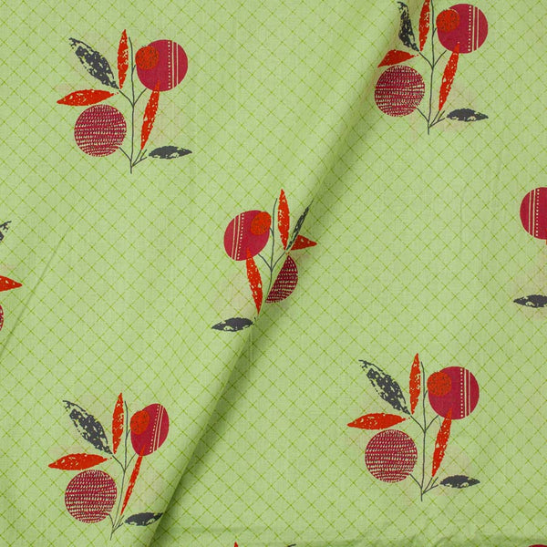 Cotton Pista Green Color Floral Print 40 Inches Width Fabric